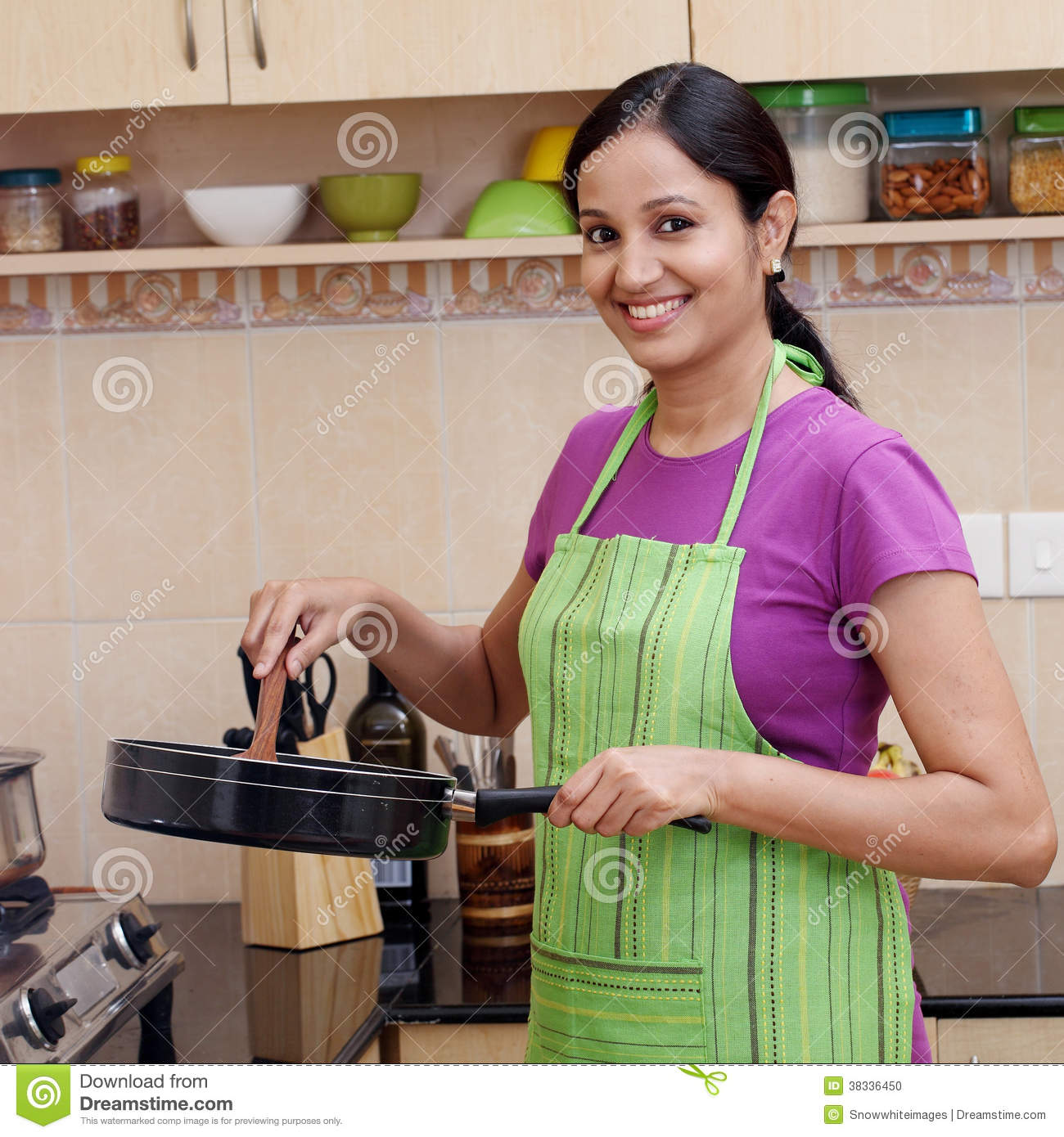 Women Kitchen: Young Woman In Kitchen Stock Photo. Image Of Kitchen