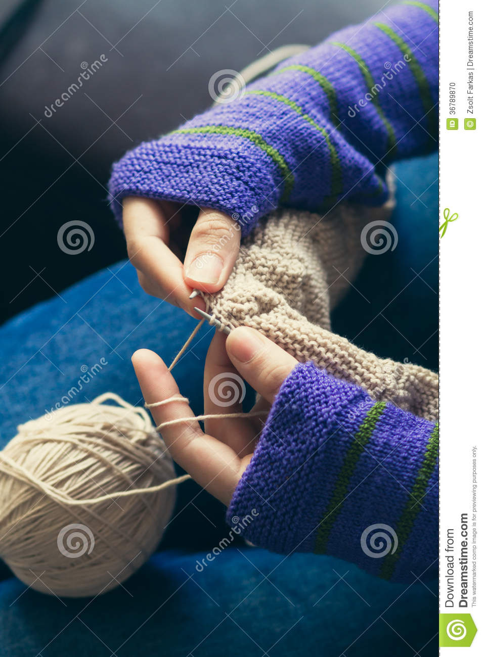 Knitting With Hands Only : Young woman knitting wool stock photo image