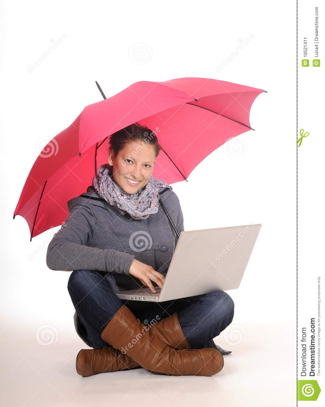 Young Woman With Laptop And Umbrella Stock Image Image