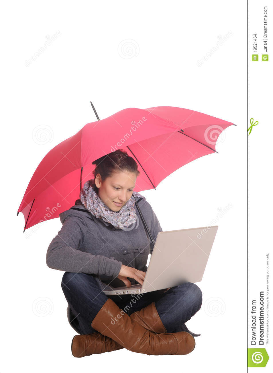 Young Woman With Laptop And Umbrella Stock Images Image