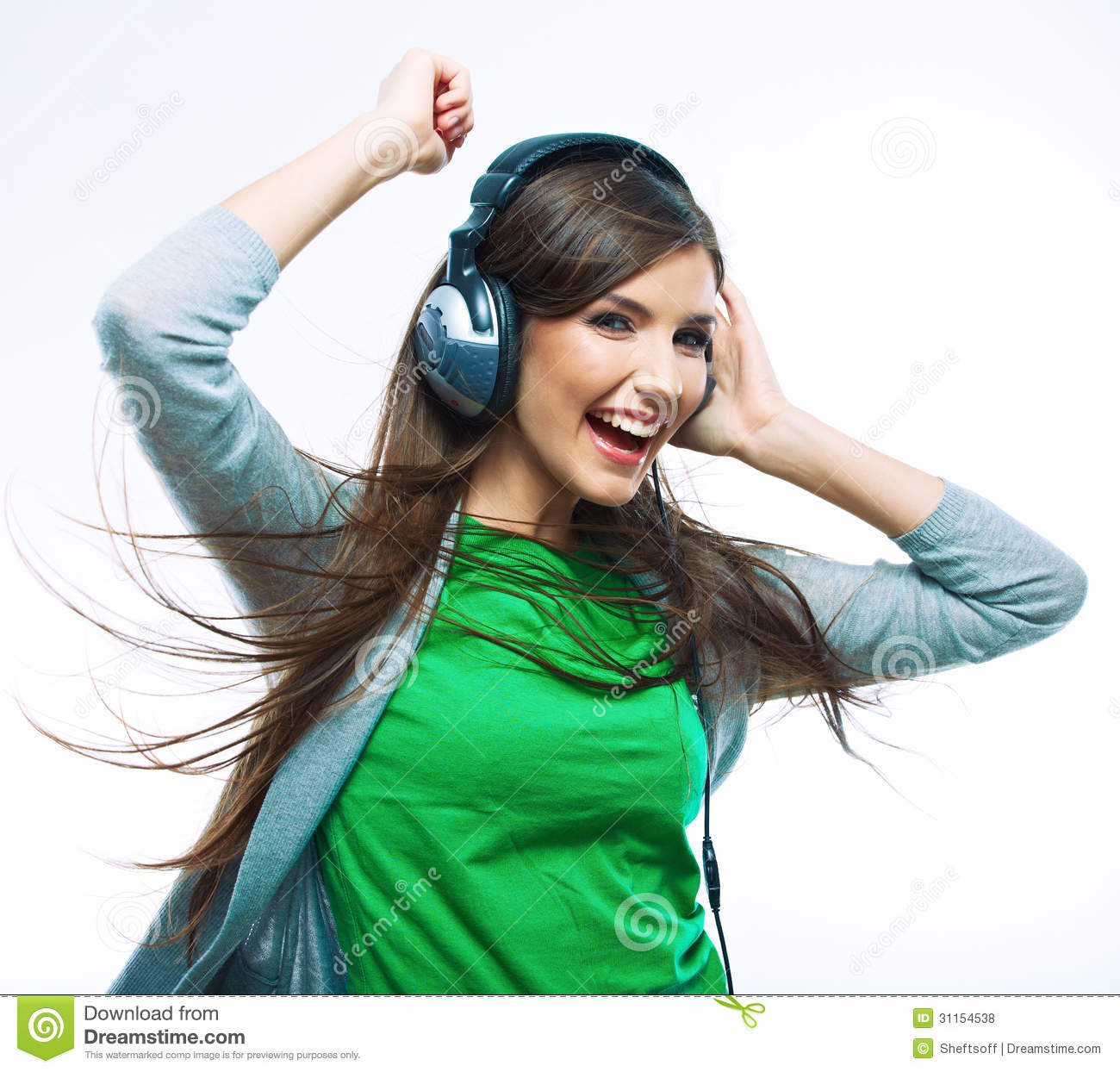 young woman listening music teenager girl dancing royalty
