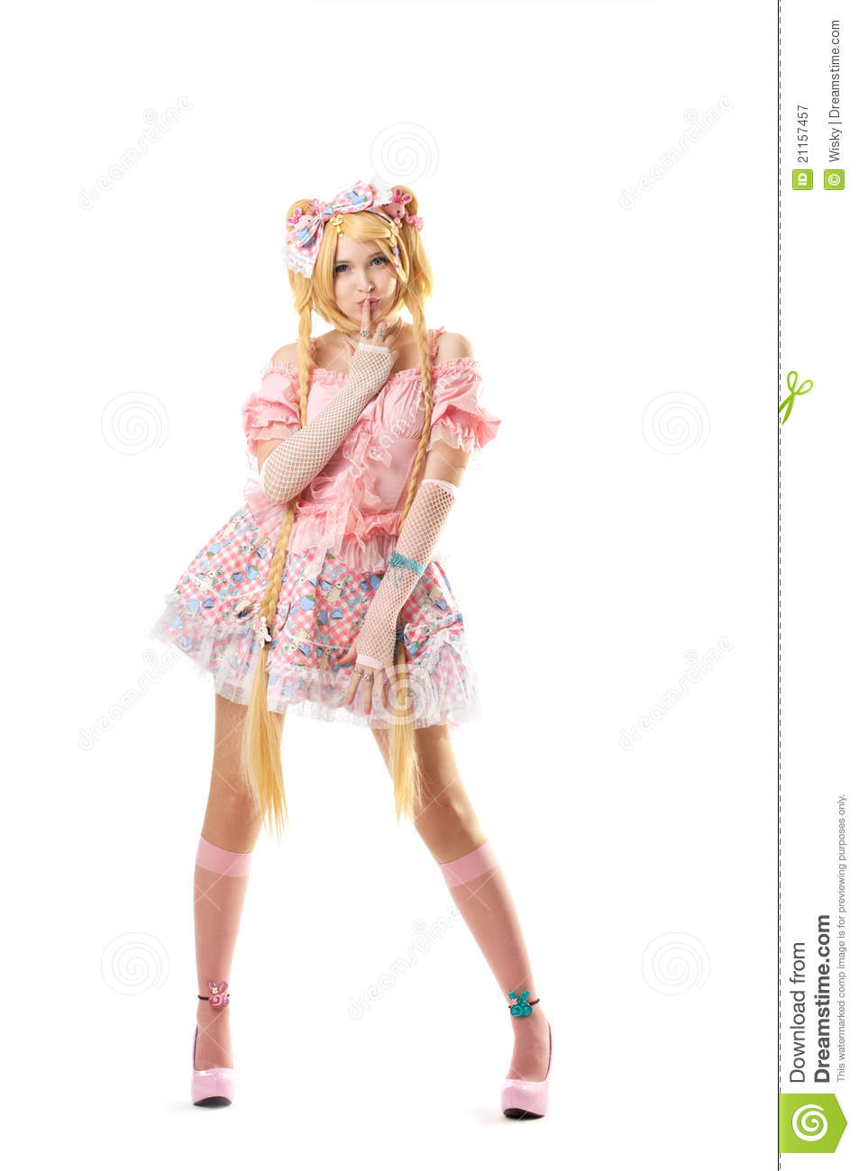 young woman in lolita costume cosplay isolated stock image
