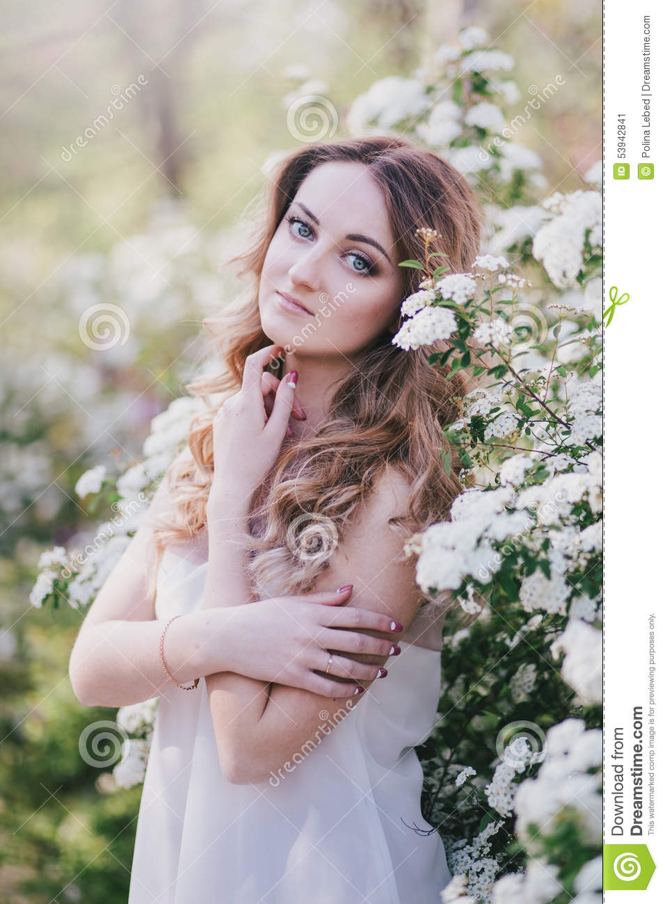 Young woman with long beautiful hair in a chiffon dress posing with royalty free stock photo izmirmasajfo Gallery