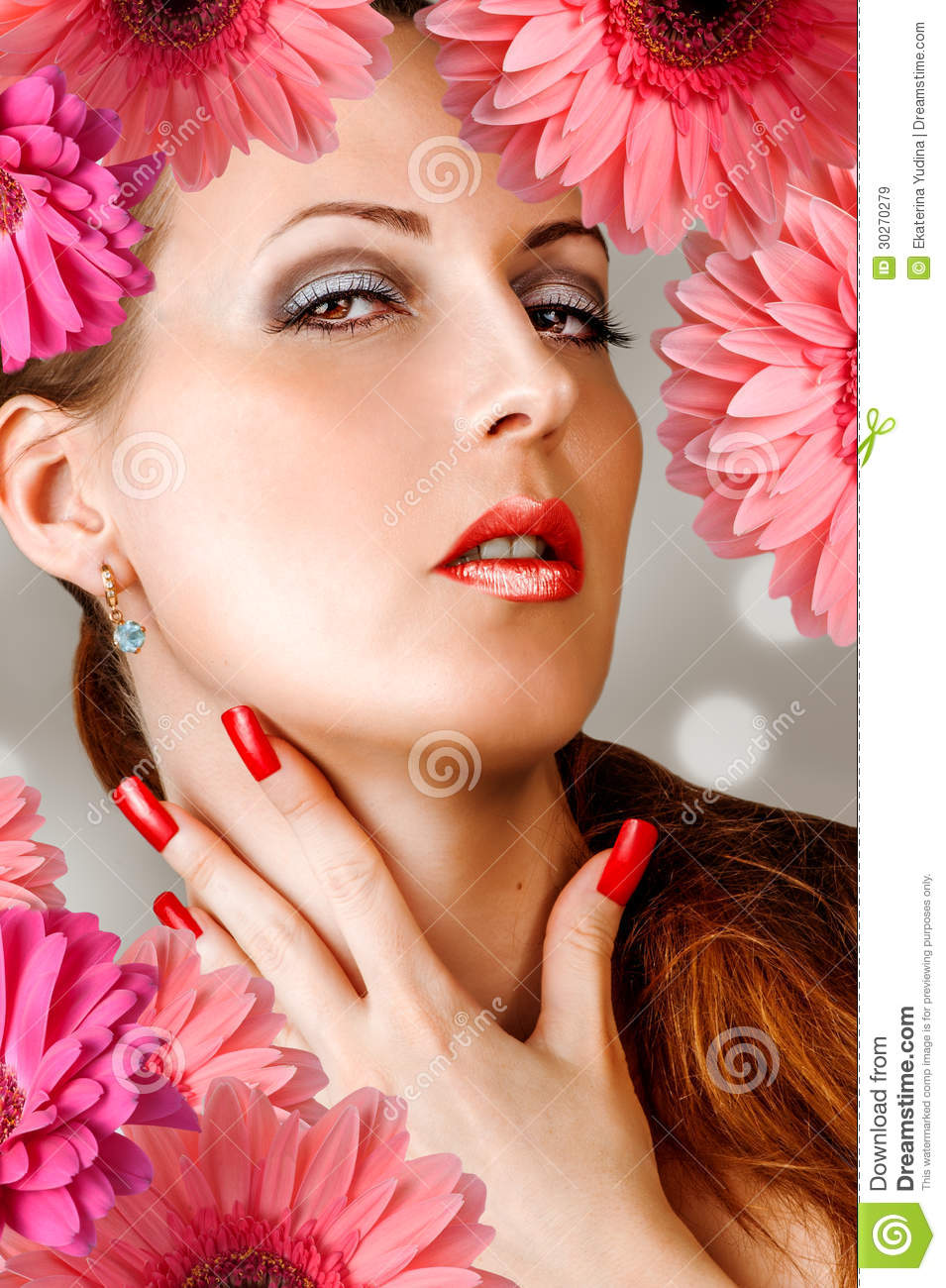 Woman With Lashes, Nails, Red Lips Royalty Free Stock