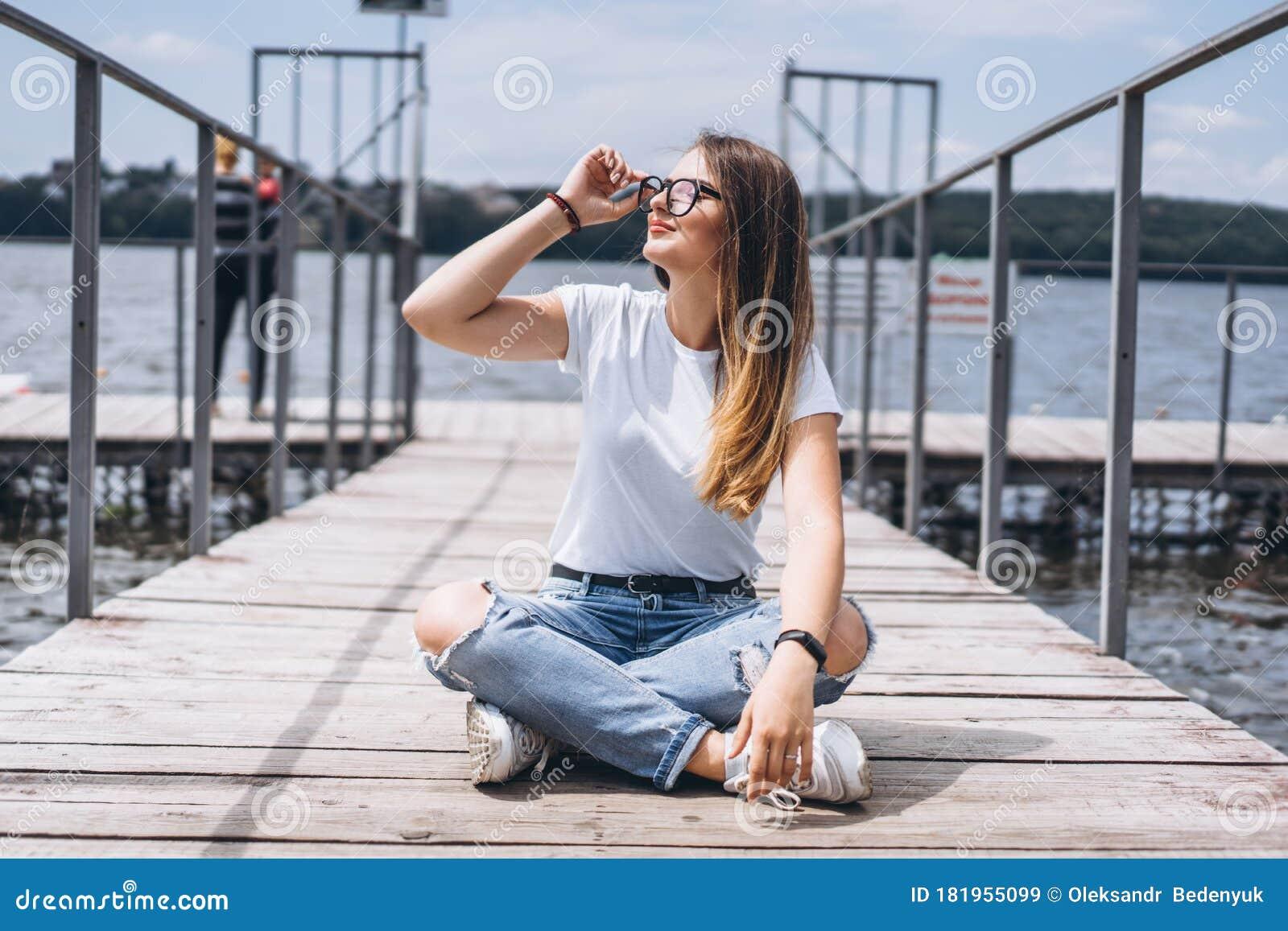 Caucasian Model Posing In Wet White Shirt In Water. Stock
