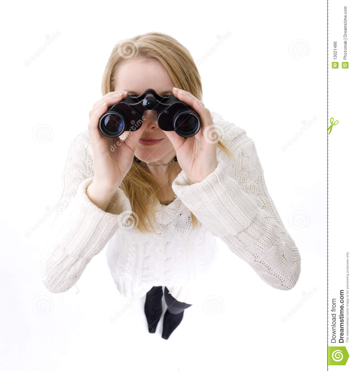 Young Woman Looking Through Binoculars Royalty Free Stock ...