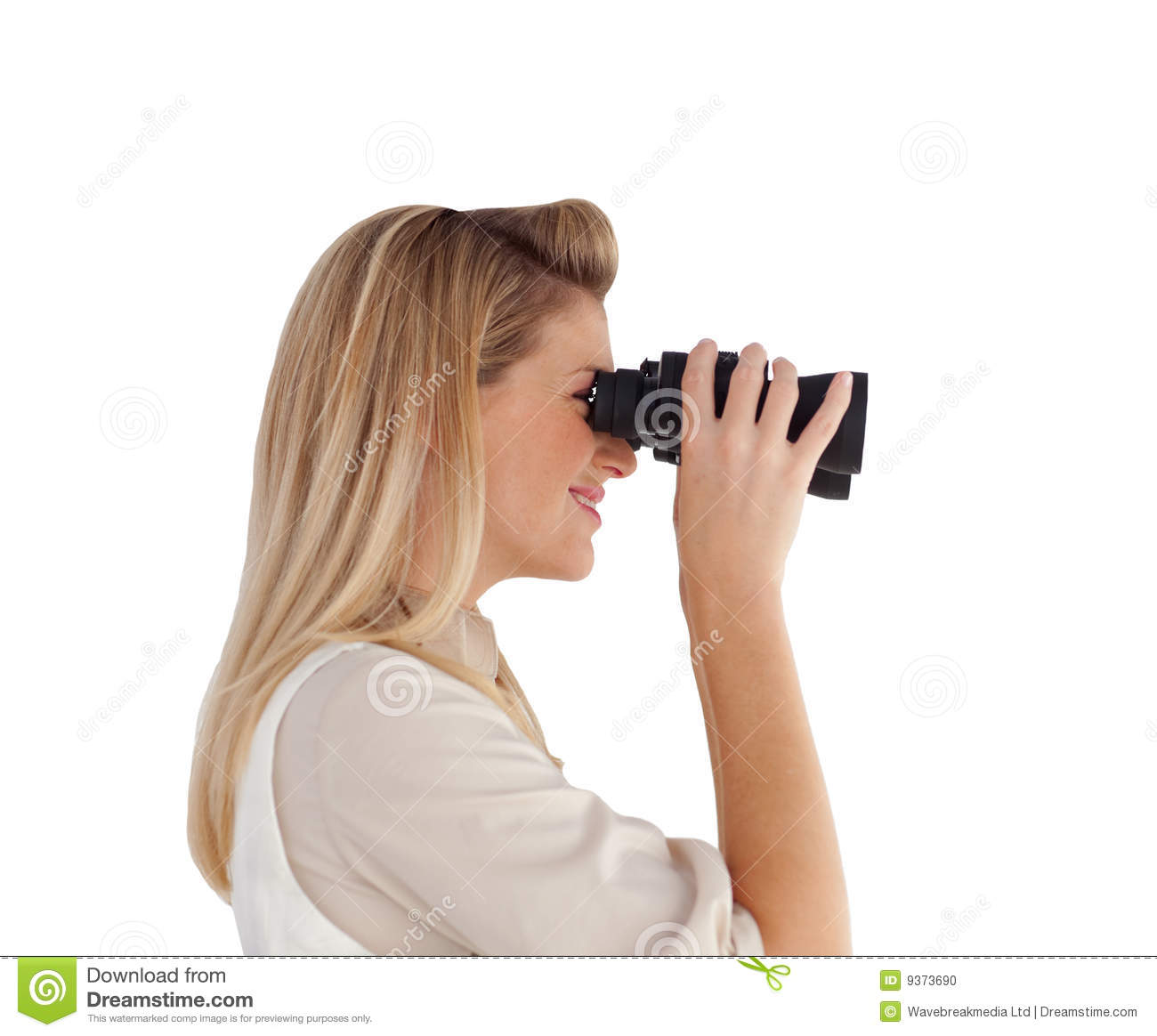 Young Woman Looking Through Binoculars Stock Photo - Image ...