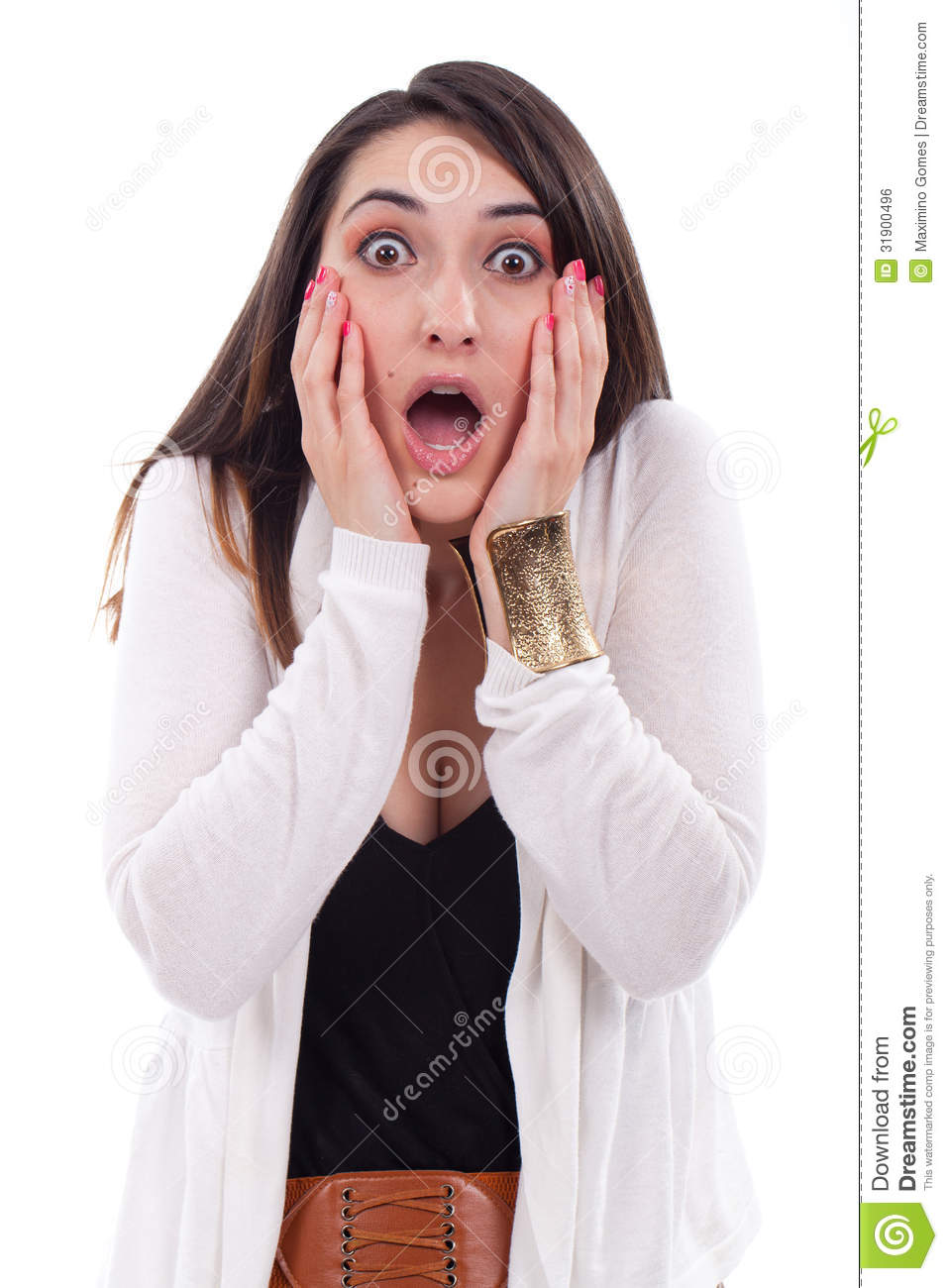 Portrait Of Young Woman Looking Surprised High-Res Stock