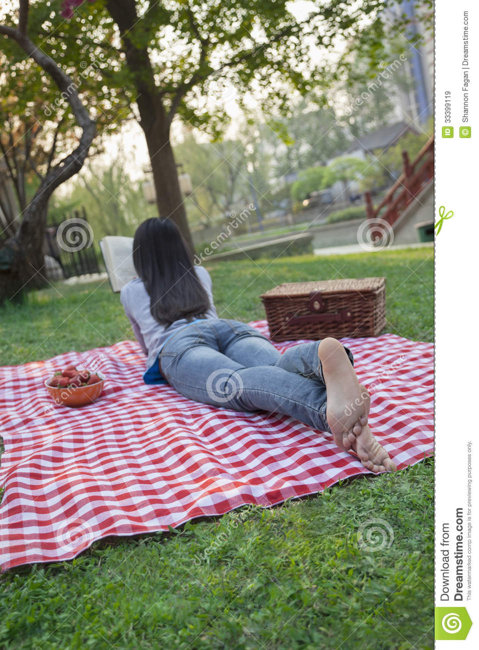 Young Woman Lying On Her Stomach On A Checkered Blanket