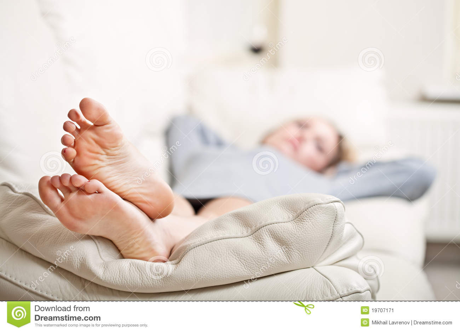 image Sleeping feet girl sofa and big tit teen
