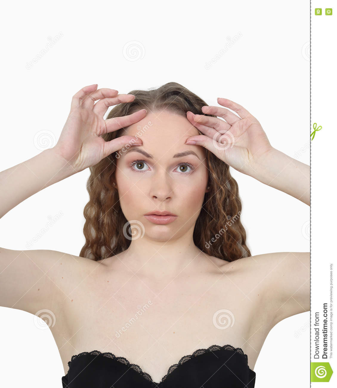 Beauty Health Make Up And Skin Care Concept Young Woman Makes Facial Massage On Light Gray Background
