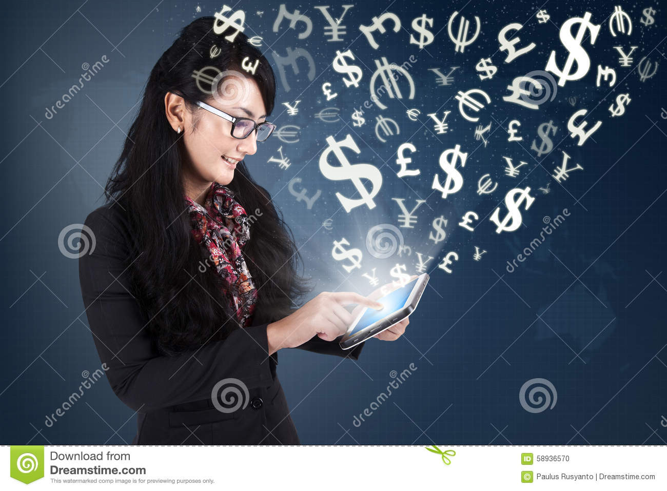 Young woman making money online with tablet