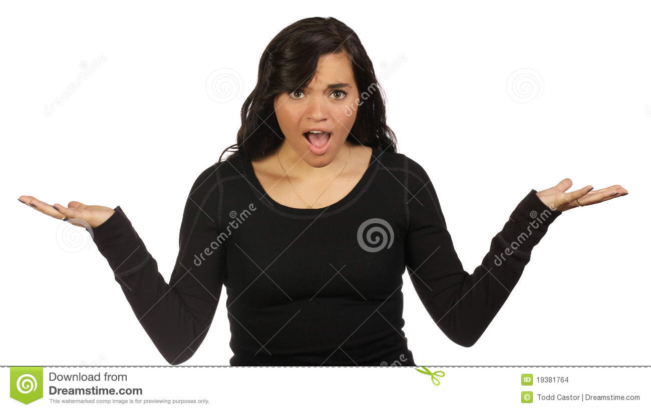 Young Woman Making A Questioning Gesture Stock Photo ...