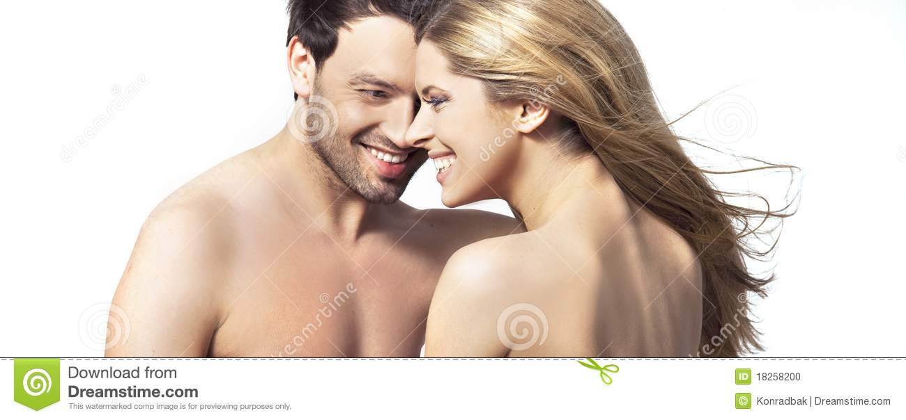 Young woman and man smiling together