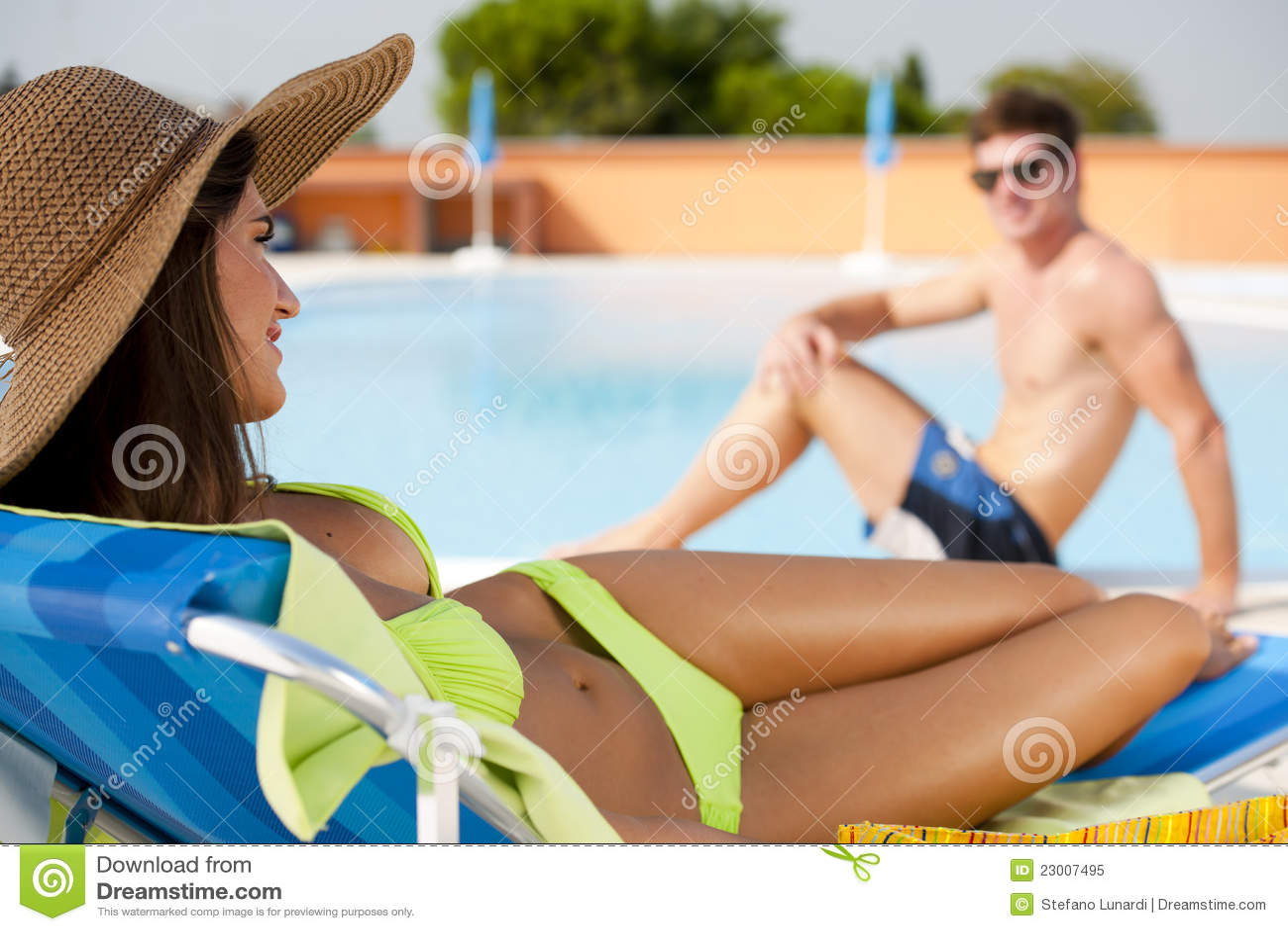 Bikini Pool Lounge Chairs Hot Girls Wallpaper