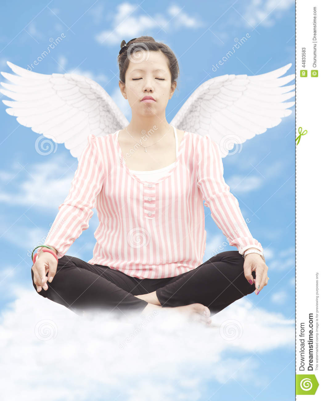 Young Woman Meditating With Wings Stock Photo - Image ...