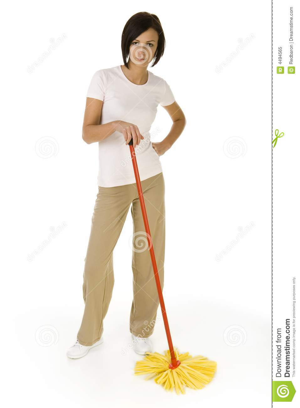 Young woman with mop