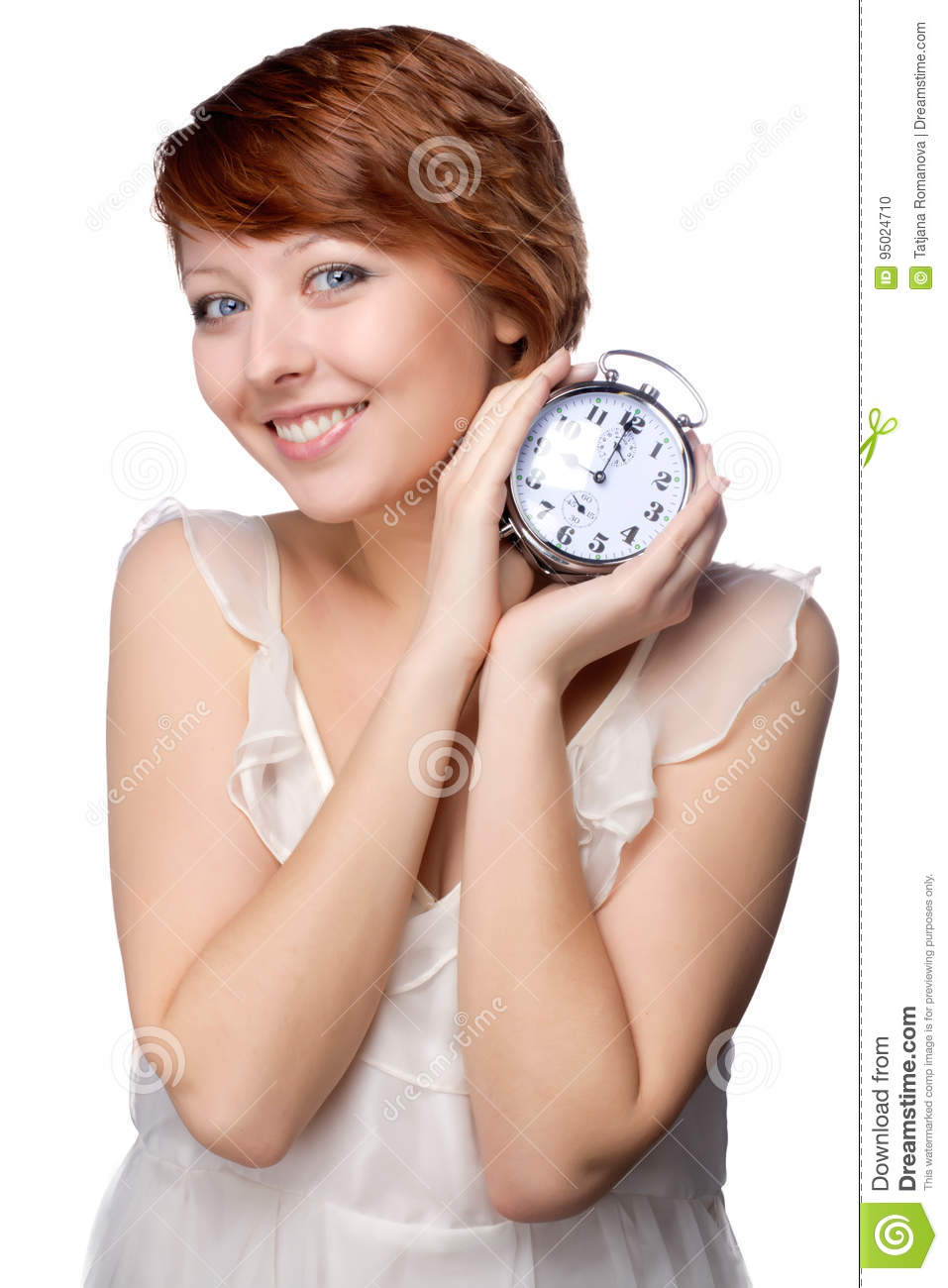 Young woman at morning with the clock