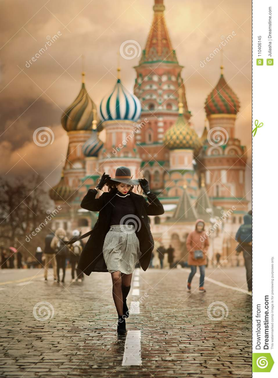 Young woman in Moscow Red Square