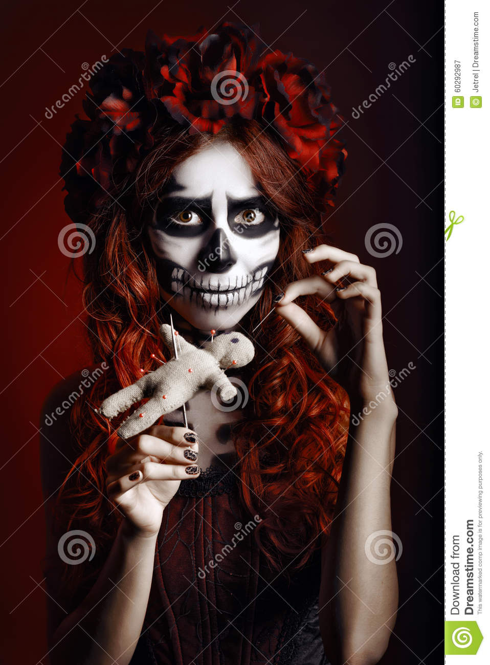 Download Young Woman With Muertos Makeup Sugar Skull Piercing Voodoo Doll Stock Image
