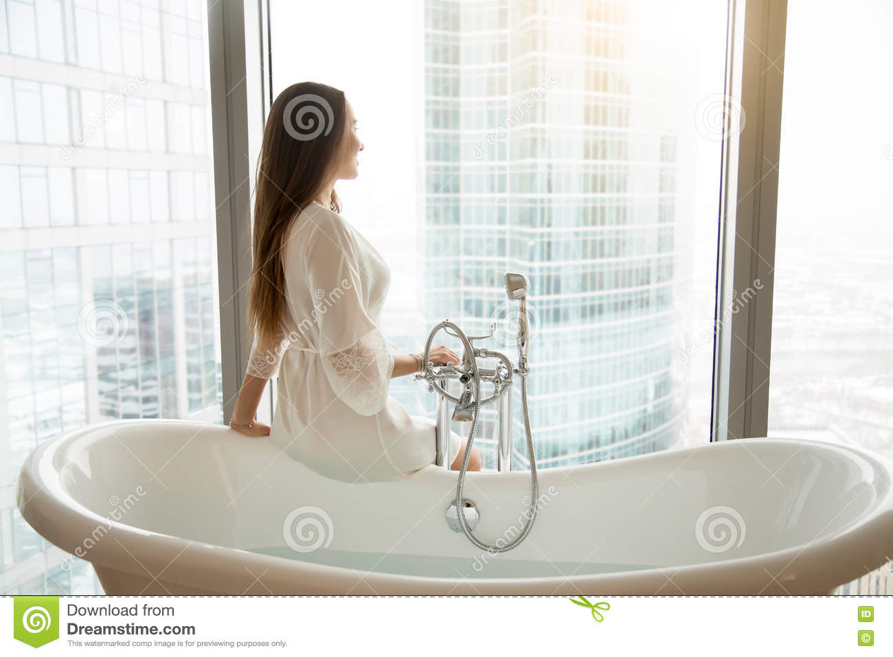 Young woman near the bath stock photo. Image of happy - 81772842
