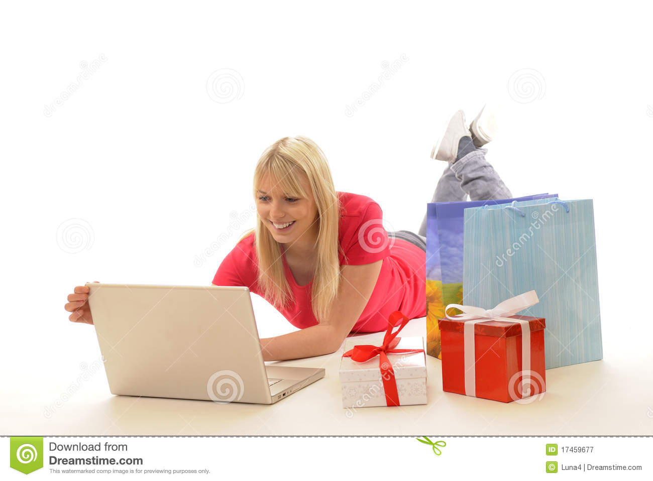 Young Woman While Online-shopping Royalty Free Stock ...