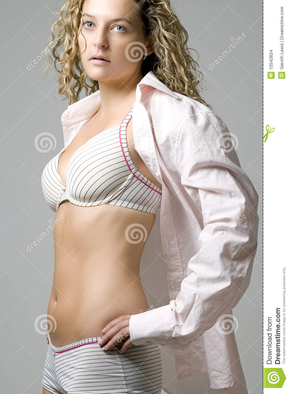 885afa44ff8e Young Woman In Open Pink Shirt And Underwear Stock Photo - Image of ...