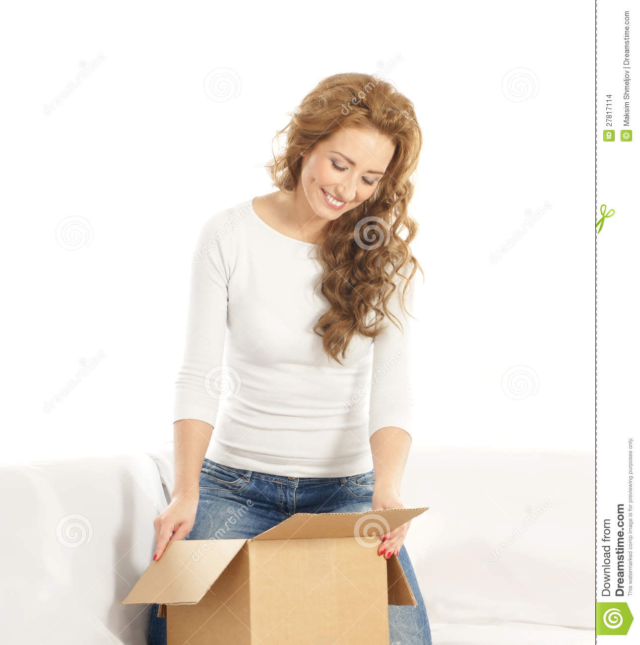 Young Woman Opening A Cardboard Box Stock Images - Image: 27817114