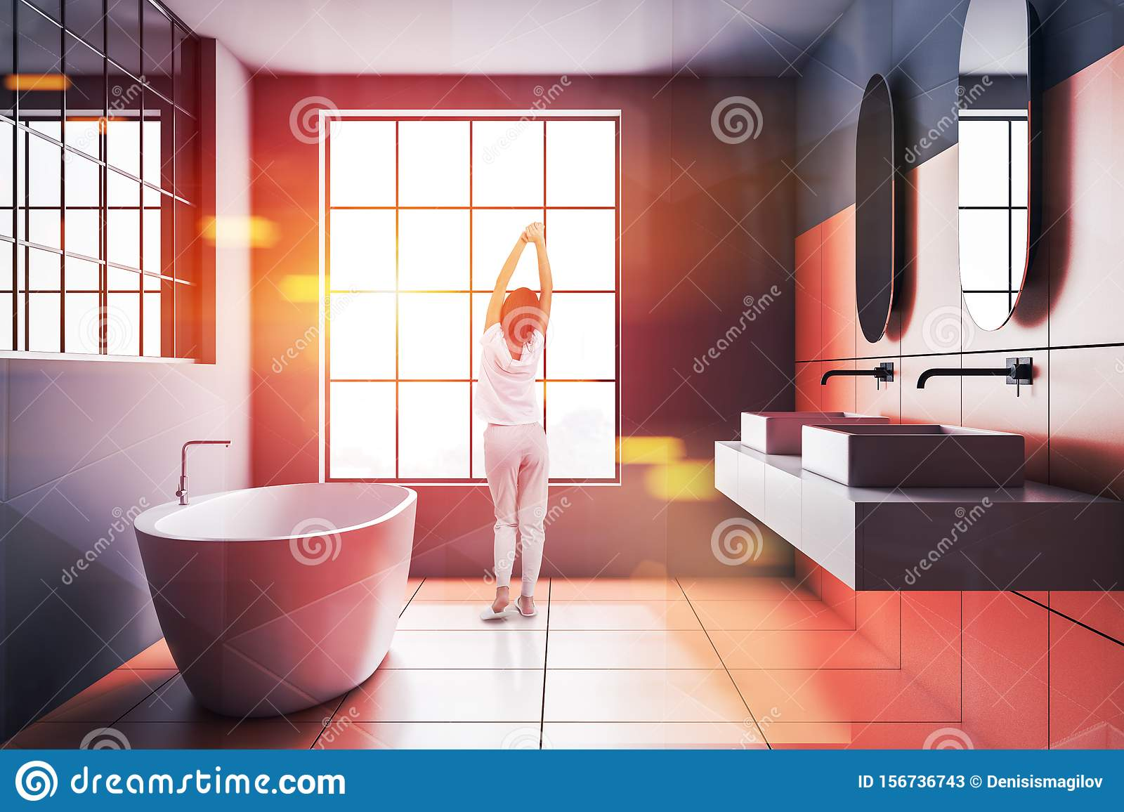 Young Woman In Orange And Gray Bathroom Stock Image Image Of