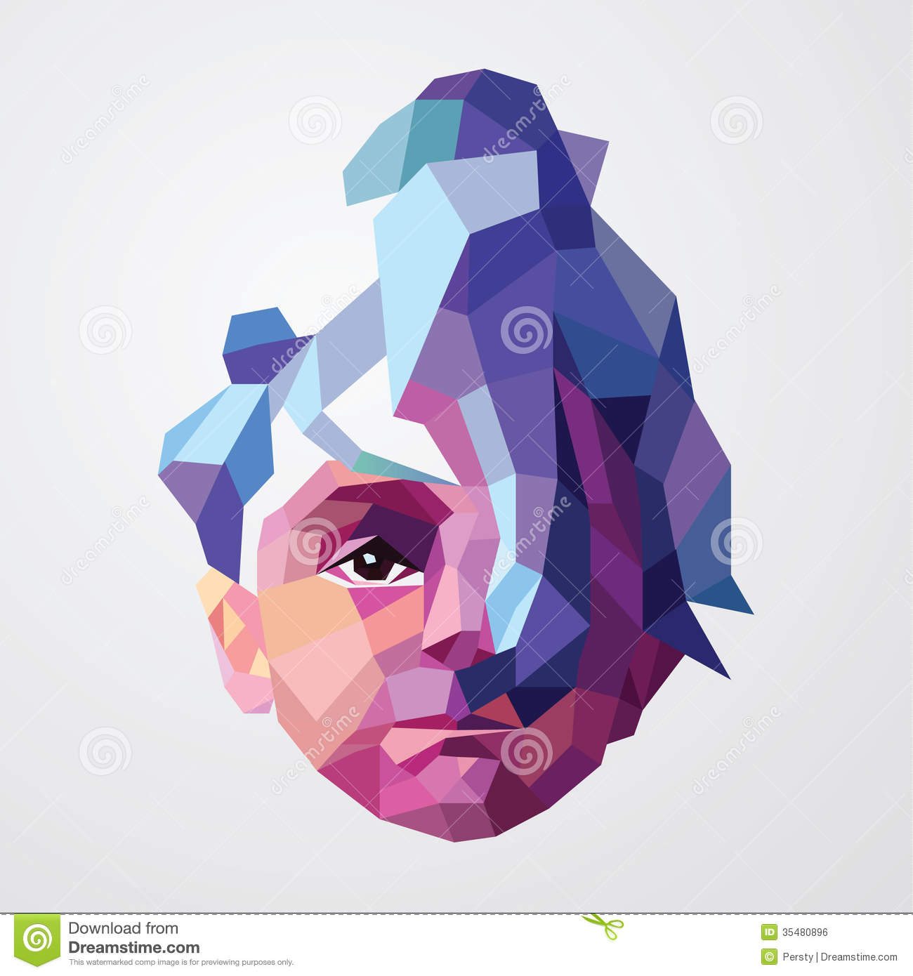 Young Woman In Origami Style Royalty Free Stock Image
