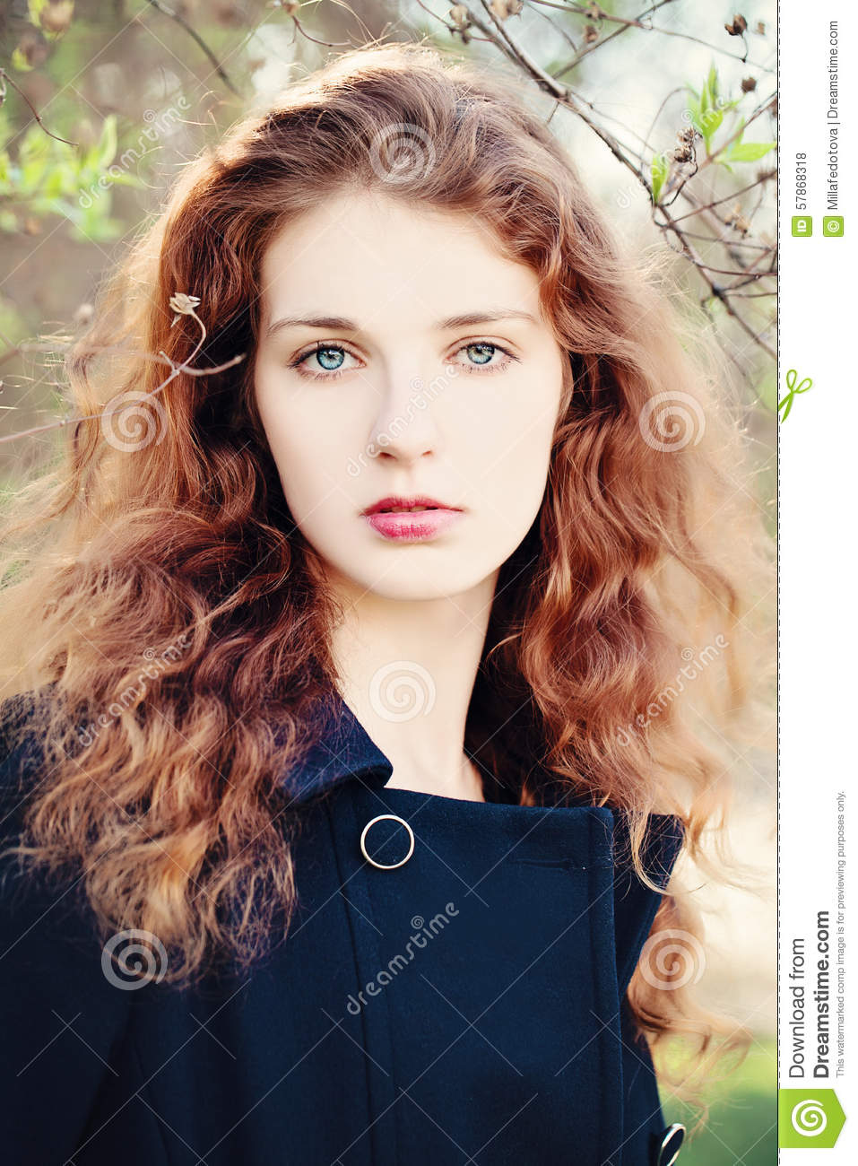 Young Woman Outdoors Girl With Red Curly Hair Stock Photo