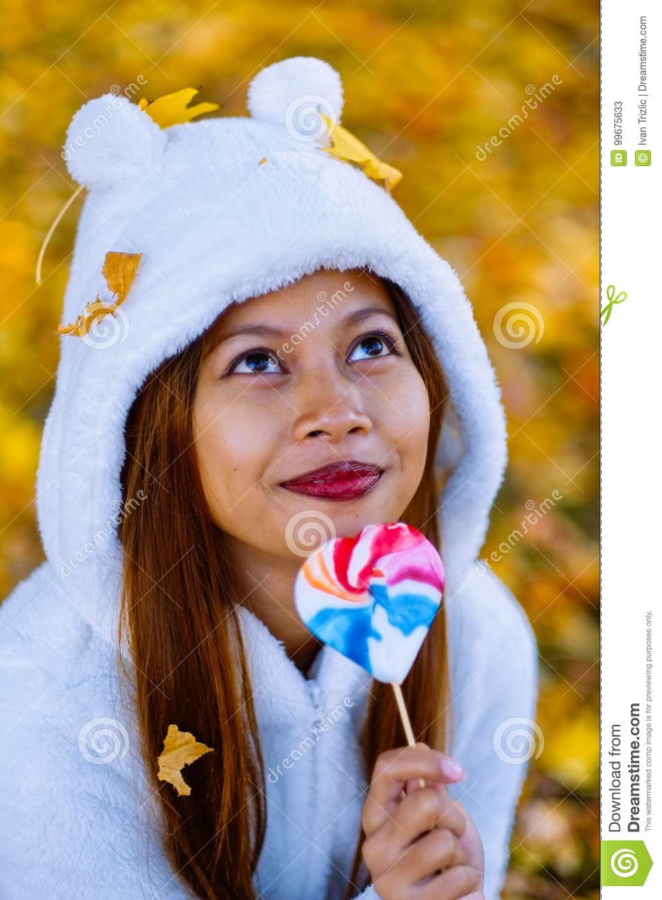 Excited Young Girl With Candy Royalty-Free Stock ...