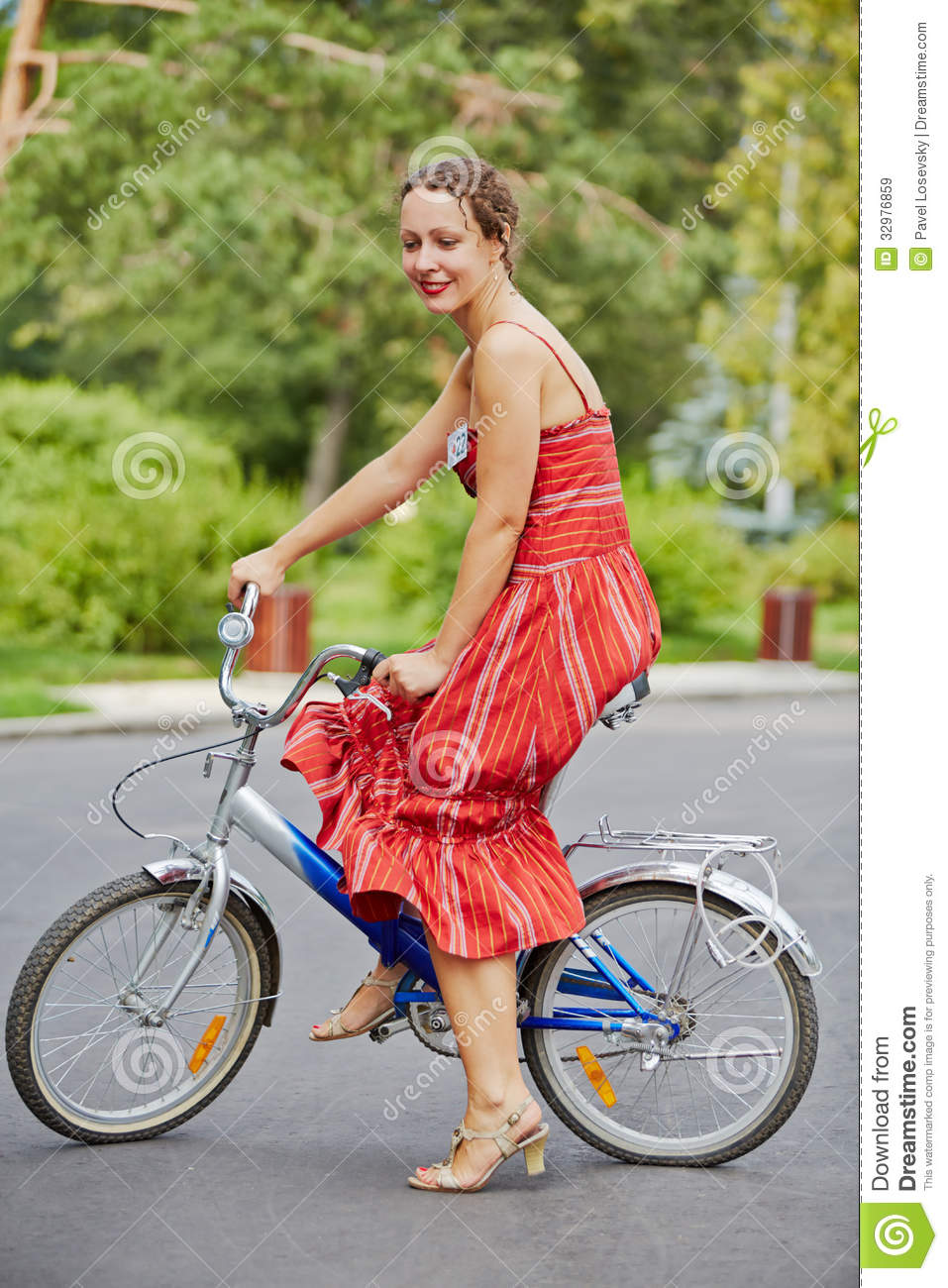Young woman participant of cycle parade