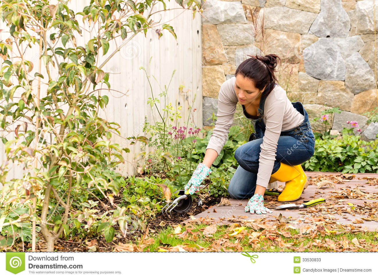 Young woman planting backyard flowerbed autumn stock image for Gardening tools used in planting