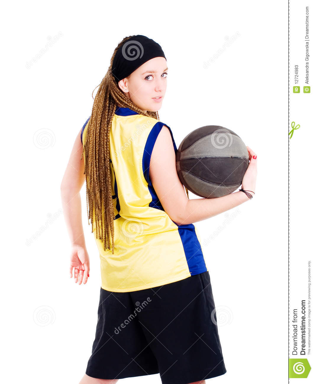 Young Woman Playing Game With Basketball Stock Photos ...