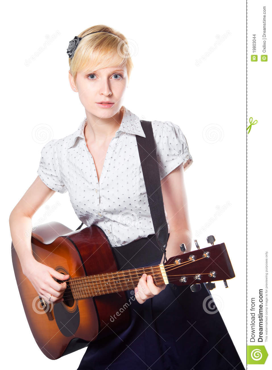 Young Woman Playing Guitar On Isolated White Stock Images ...