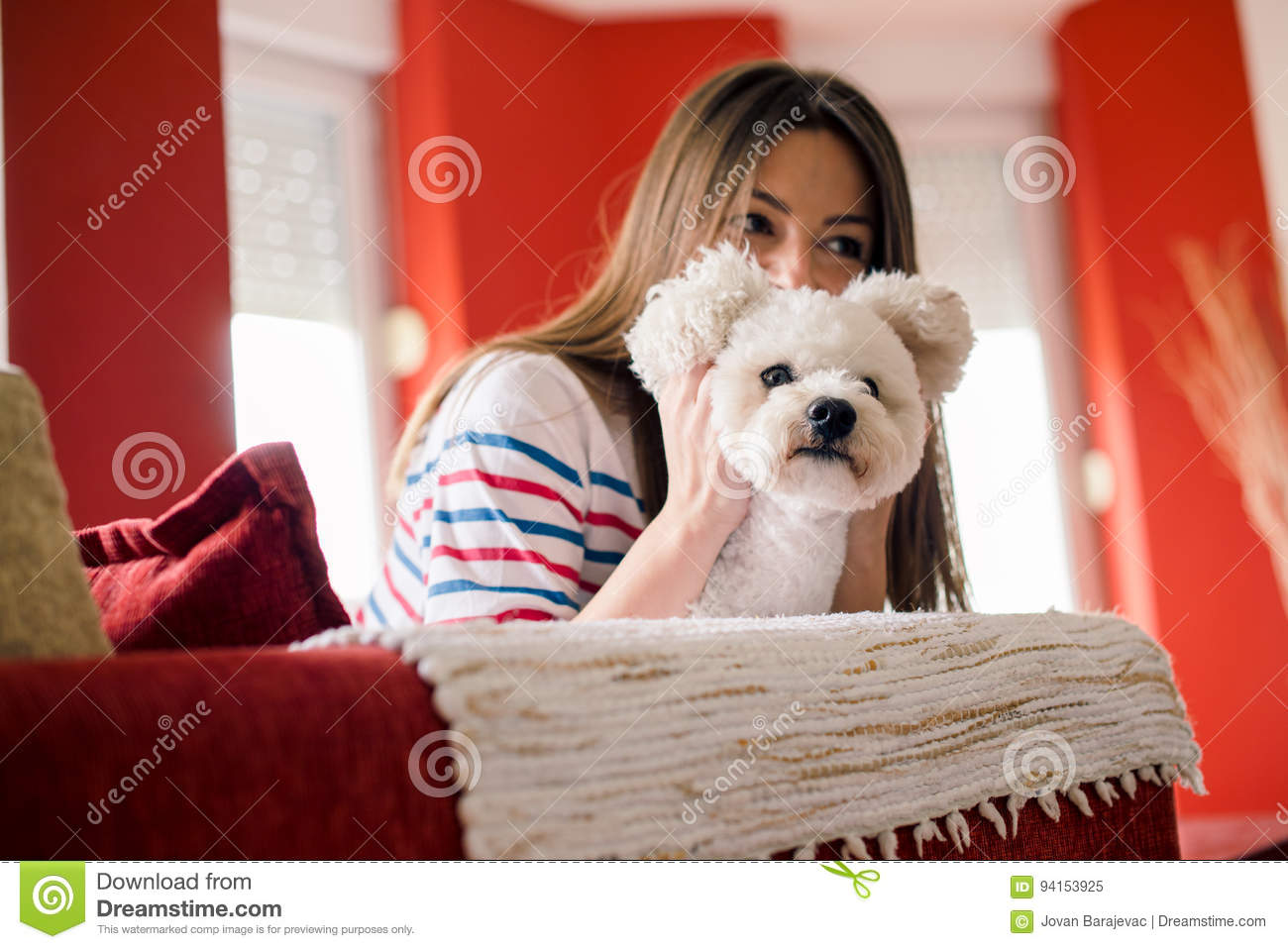 Download Young Woman Is Playing With Her Dog Stock Image - Image of friend, cheerful: 94153925