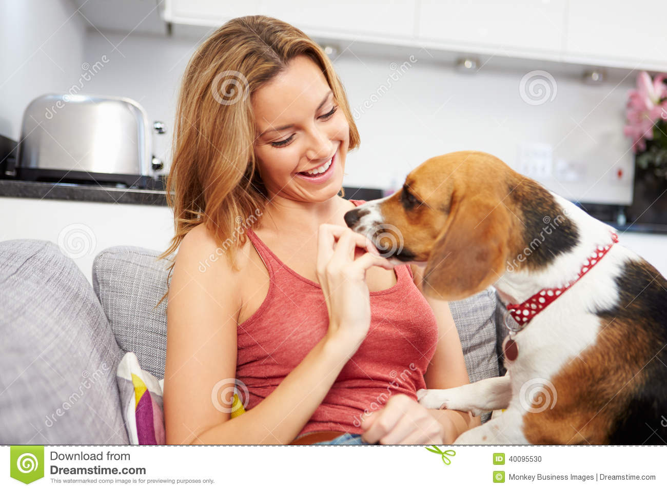 the woman with the pet dog