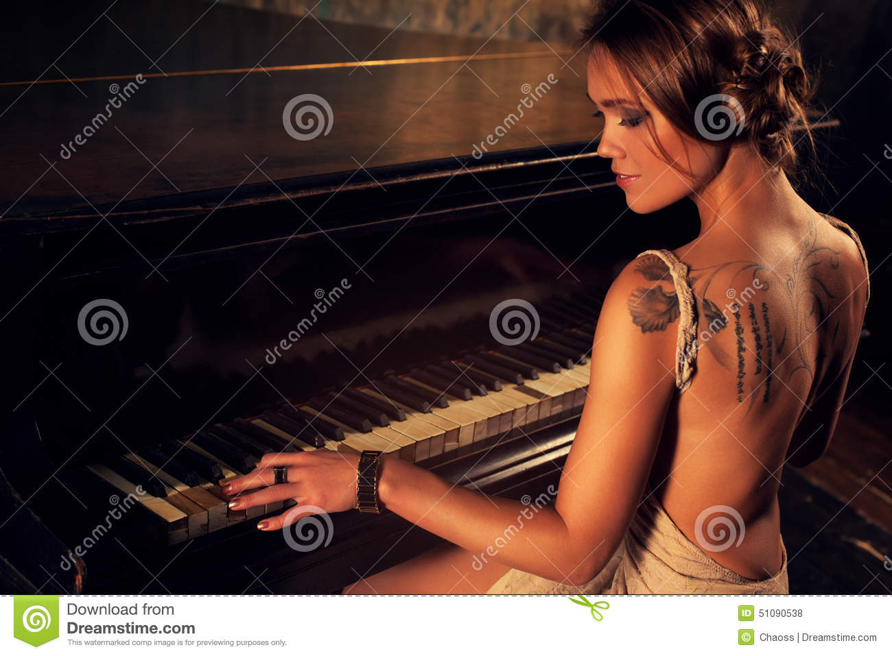 Young Woman Playing Piano Stock Photo Image 51090538