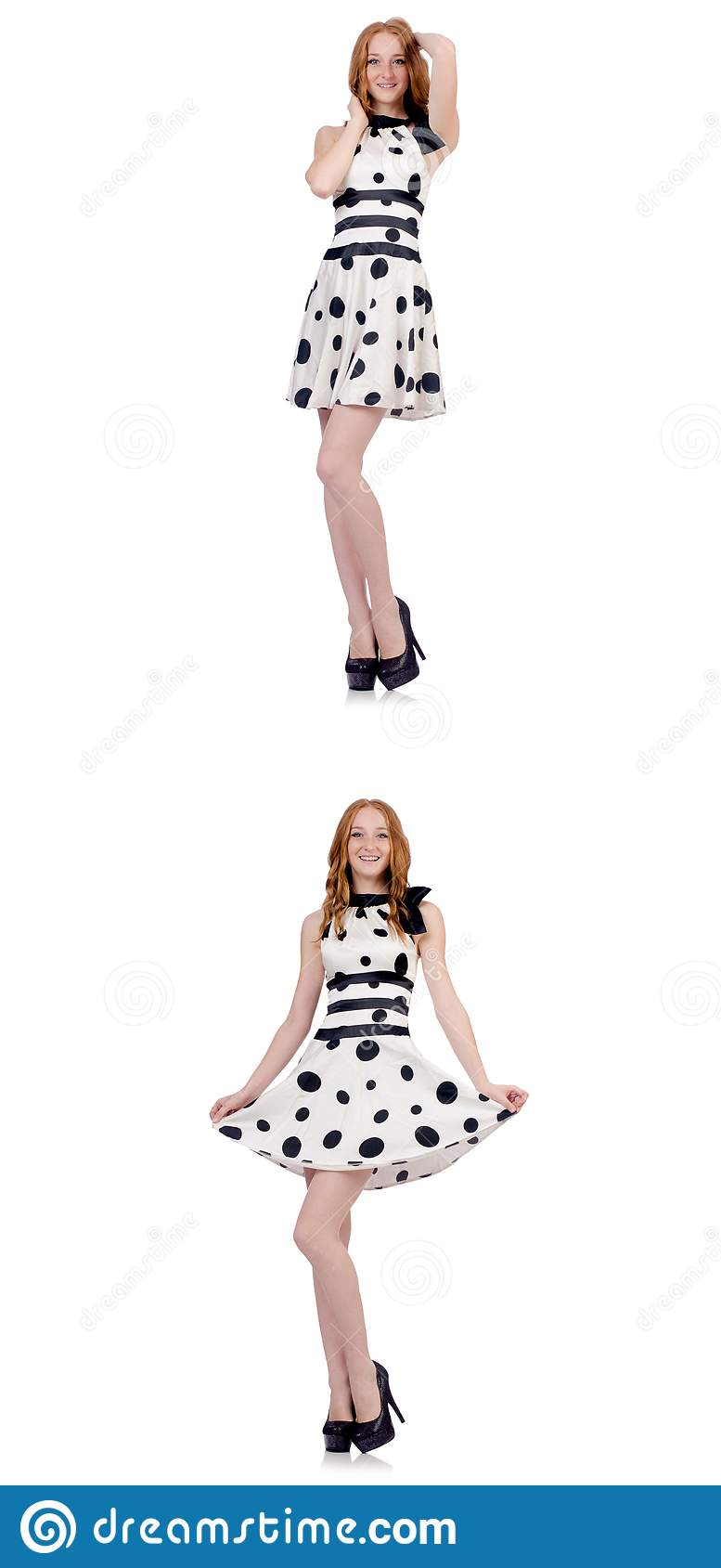 The young woman in polka dot dress isolated on white
