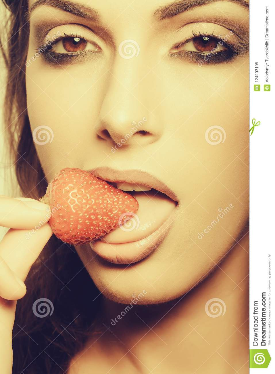young Sweet girls strawberries