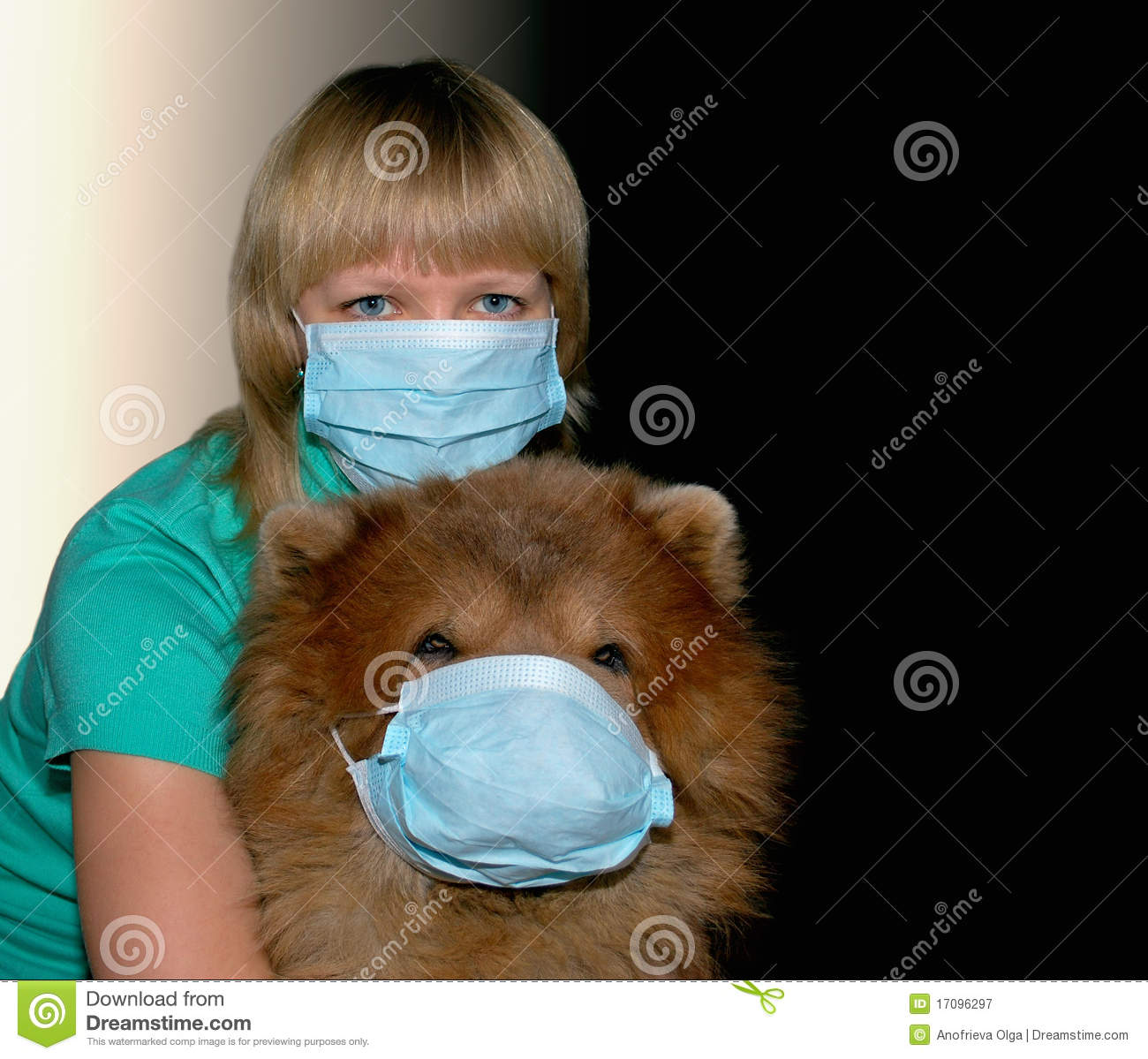 Young woman with protection mask and dog