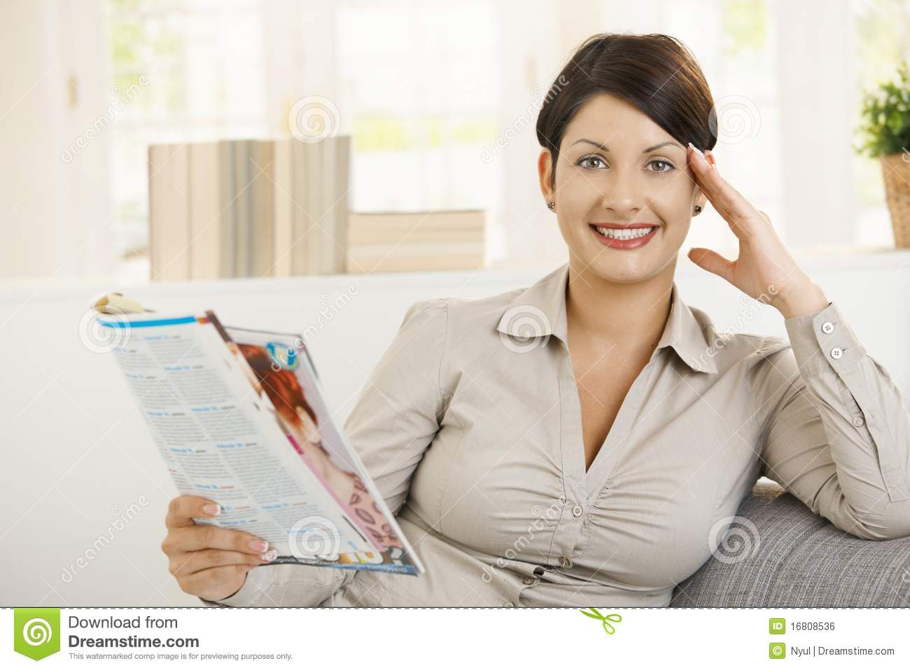 Young Woman Reading Newspaper Royalty Free Stock Image ...