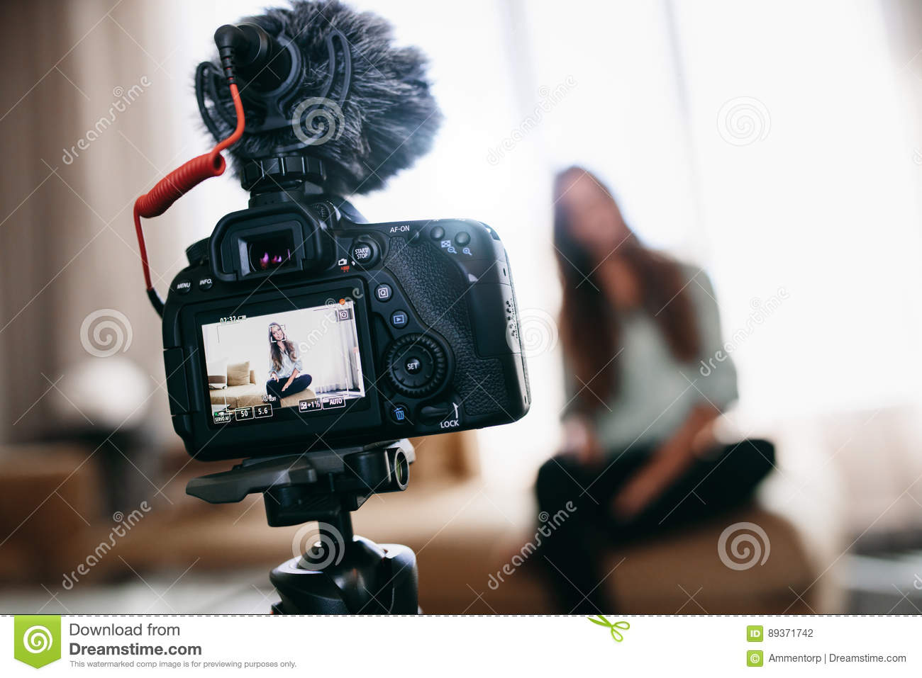 Download Young Woman Recording Video For Her Vlog Using Camera With Micro Stock Photo - Image of social, camera: 89371742