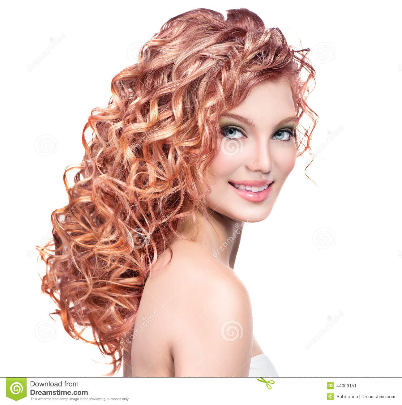 Young Woman With Red Curly Hair Stock Photo Image 44009151