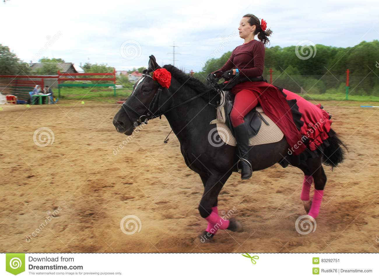 Young Woman In A Red Dress On A Black Horse Editorial Photo Image Of Girls Event 83292751