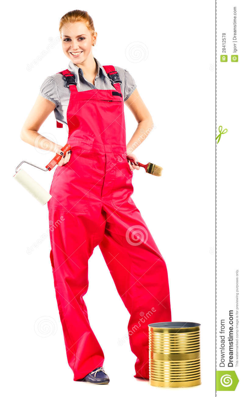 Young Woman In Red Overalls With Painting Tools Stock Photo Image Of Indoors Occupation 28412578
