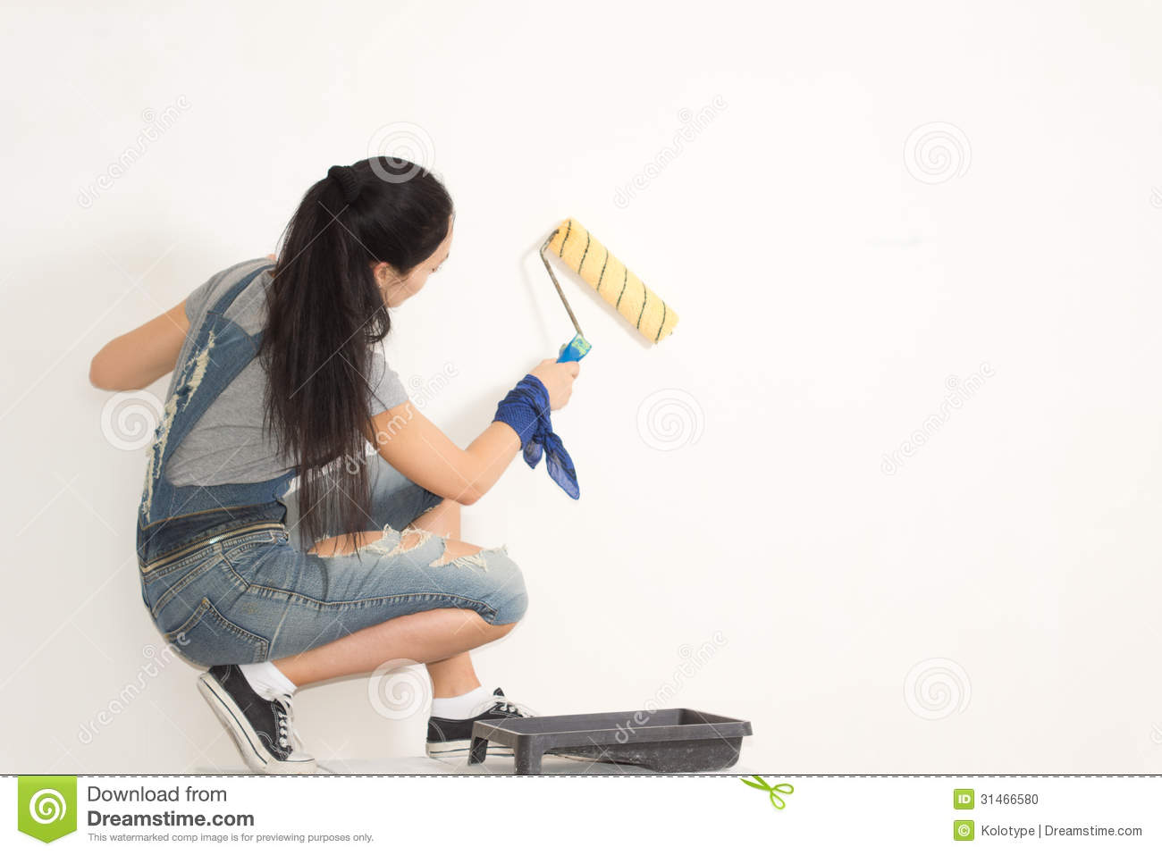 Young Woman Redecorating Her House Stock Photo - Image of inside ...
