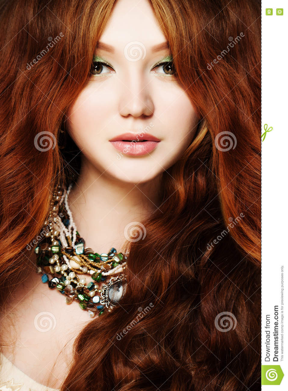 Young Woman Redhead Long Curly Hair And Makeup Stock Photo Image