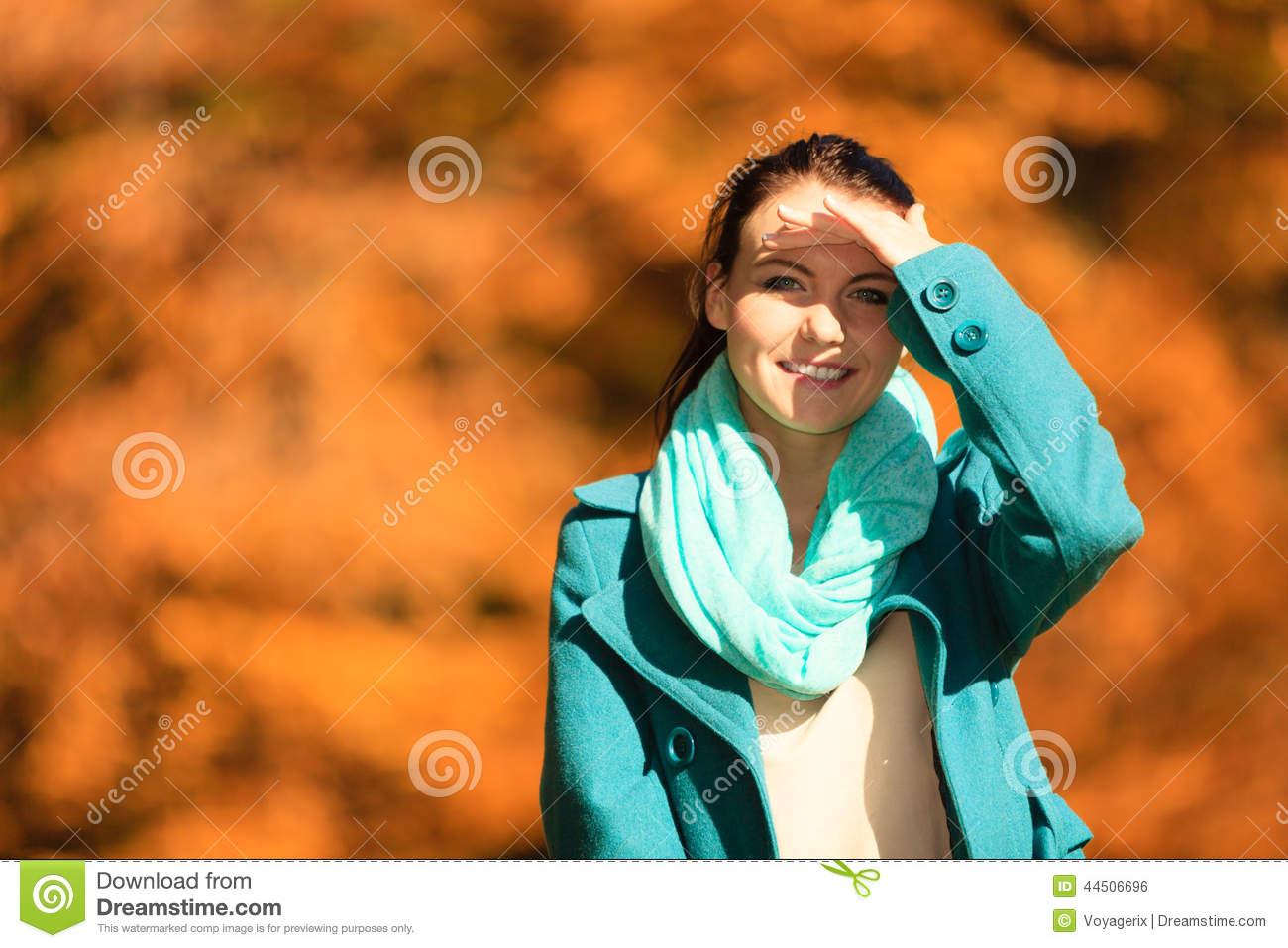 Fall lifestyle concept harmony freedom portrait young woman girl